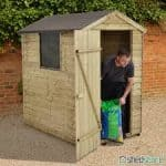 + Base: Pressure Treated Overlap Wooden Shed With Window 6 x 4