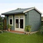 Assembled + Base: Shire Marlborough Log Cabin 10 x 14