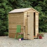 Assembled + Base: Pressure Treated Overlap Wooden Shed with Window 6 x 4