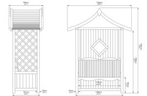 Blooma Elegant Wooden Arbour 2.34 x 1.76 x 0.94 Overall Dimensions