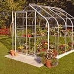 B&Q Silver Frame with Curved Roof and Toughened Glass Greenhouse