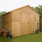 10 x 10 Waltons Groundsman Windowless Tongue and Groove Workshop Side View Unpainted