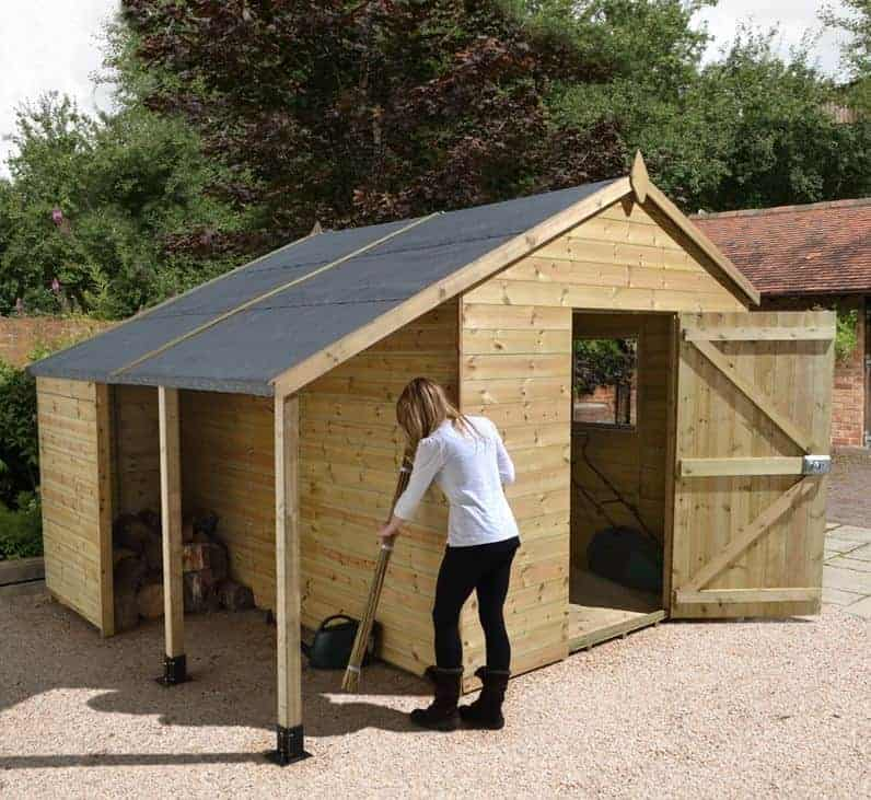 10′ x 8′ Shed-Plus Champion Heavy Duty Workshop with Logstore – Single Door