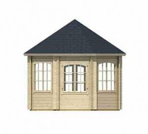 3.47 x 3.47 Jamaica Log Cabin Back and Windows