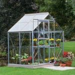4 x 6 Halls Silver Aluminium Popular Greenhouse with Vent