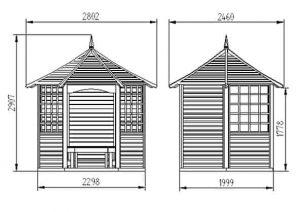 Hartwood 9' x 8' FSC Quinton Gazebo Dimensions