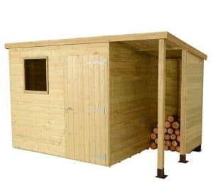 7 x 5 Shed-Plus Champion Heavy Duty Pent Wooden Shed With Logstore Cladding Frame And Floor