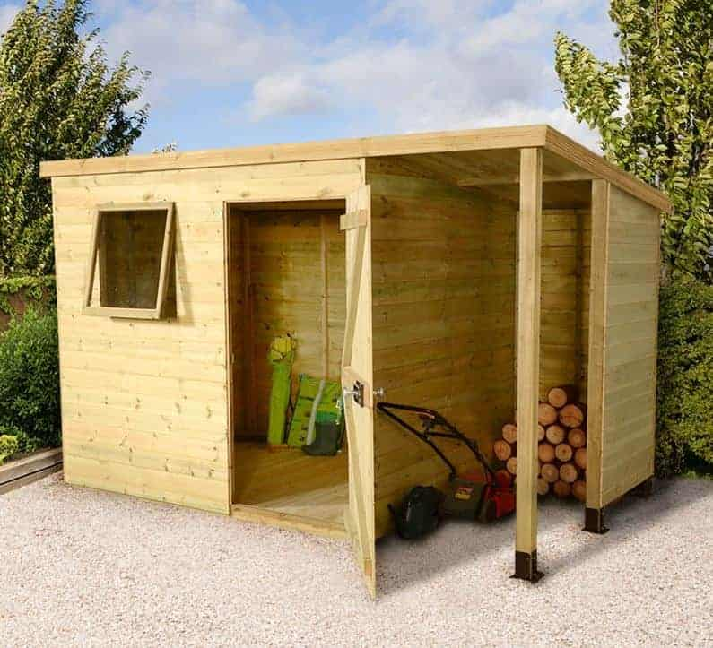 7 x 5 Shed-Plus Champion Heavy Duty Pent Wooden Shed With Logstore